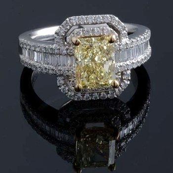 Light yellow diamond engagement ring