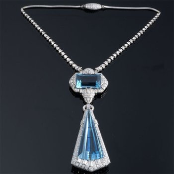 Art-Deco style diamond necklace with aquamarines