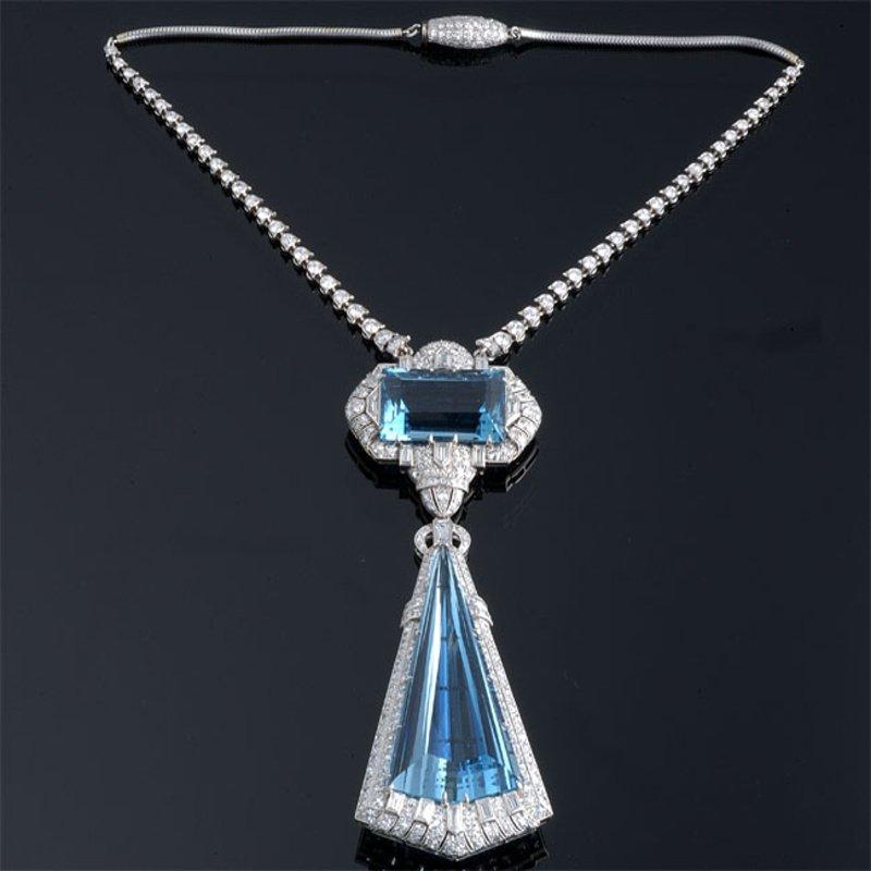 Antony Jewelers Art-Deco style diamond necklace with aquamarines