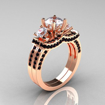 Rose gold engagement ring with black and white diamonds