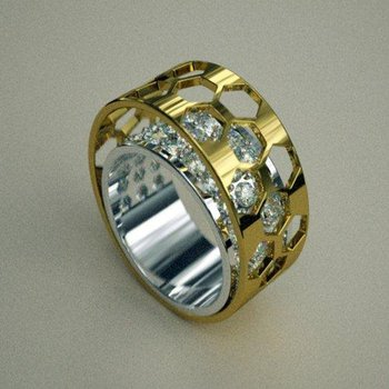 Amazingly constructed two tone diamond band
