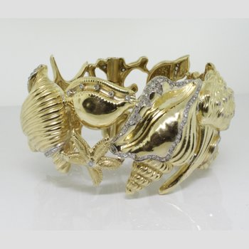 Gold bangle-bracelet with sea world figures