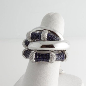 Bondage fashion ring with sapphires and diamonds