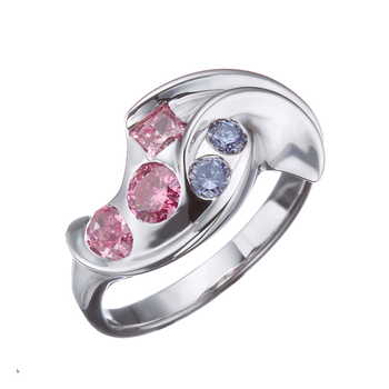 Artist spesial design ring with blue and  pink sapphires