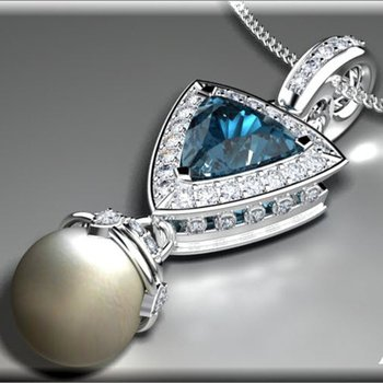 Diamond pendant with pearl and mystic topaz