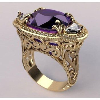 Unique gold fashion ring with a amethysts