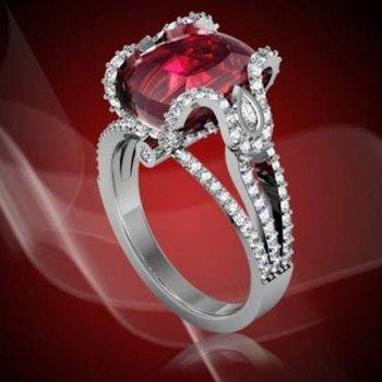 Oval ruby fashion diamond  ring
