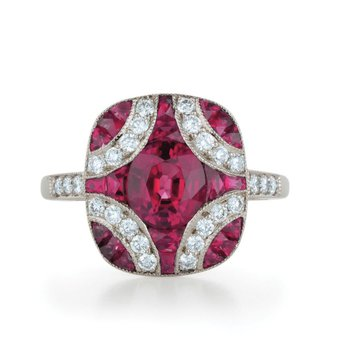 Pigeon blood ruby engagement ring