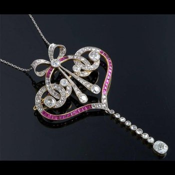 "Antique style ruby and diamond ""key"" necklace"