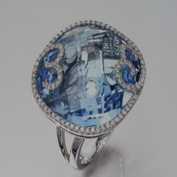 Double shank blue topaz fashion ring
