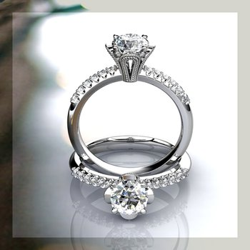 Antique style engagement ring with diamonds