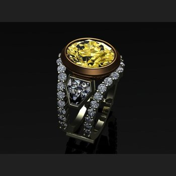 Fancy yellow diamond engagement ring with trillion stones on a side