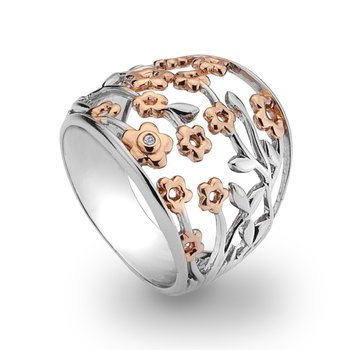 Two-tone floral fashion ring