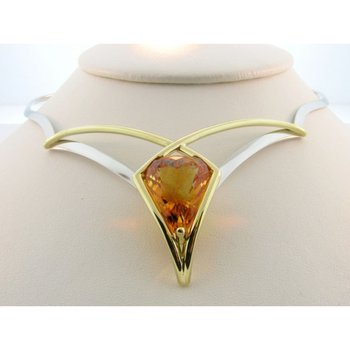 Modern  cognac color yellow citrine necklace