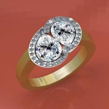 Yellow gold diamond engagement ring with pear shape diamonds