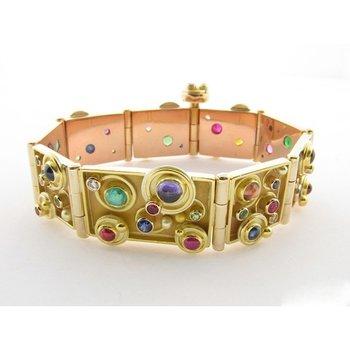 Yellow Gold Uniqie colorful Bangle -Bracelet