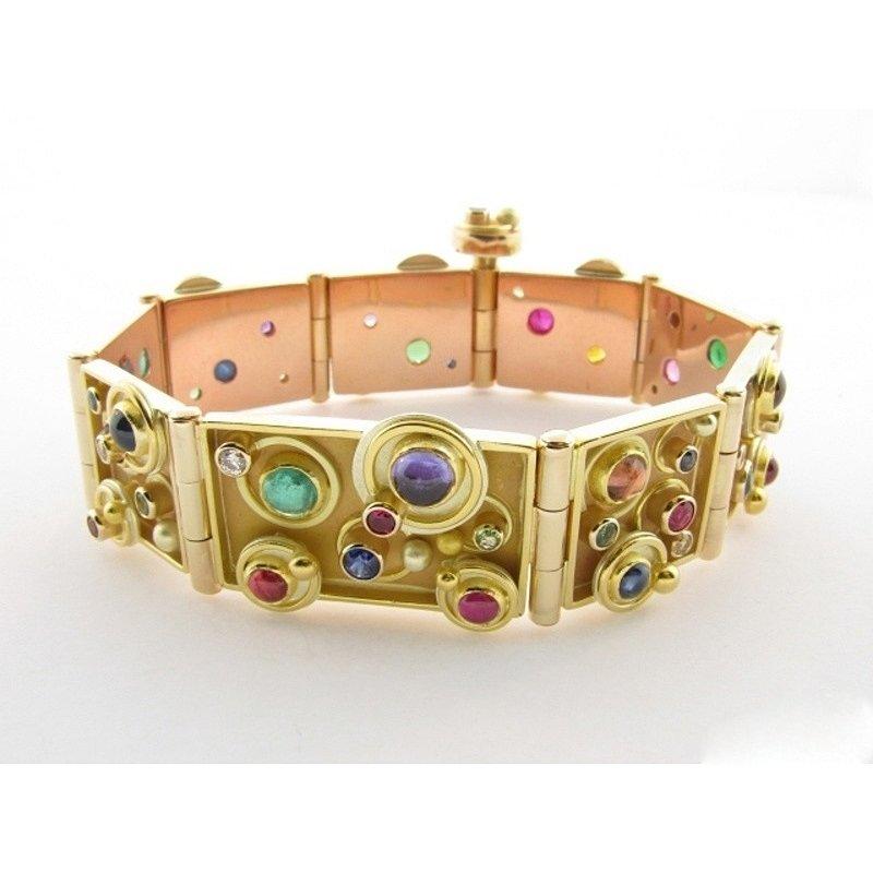 Antony Jewelers Yellow Gold Uniqie colorful Bangle -Bracelet