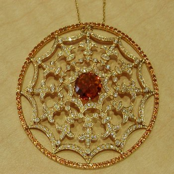 Cobweb style necklace with champagne diamonds and brown diamond