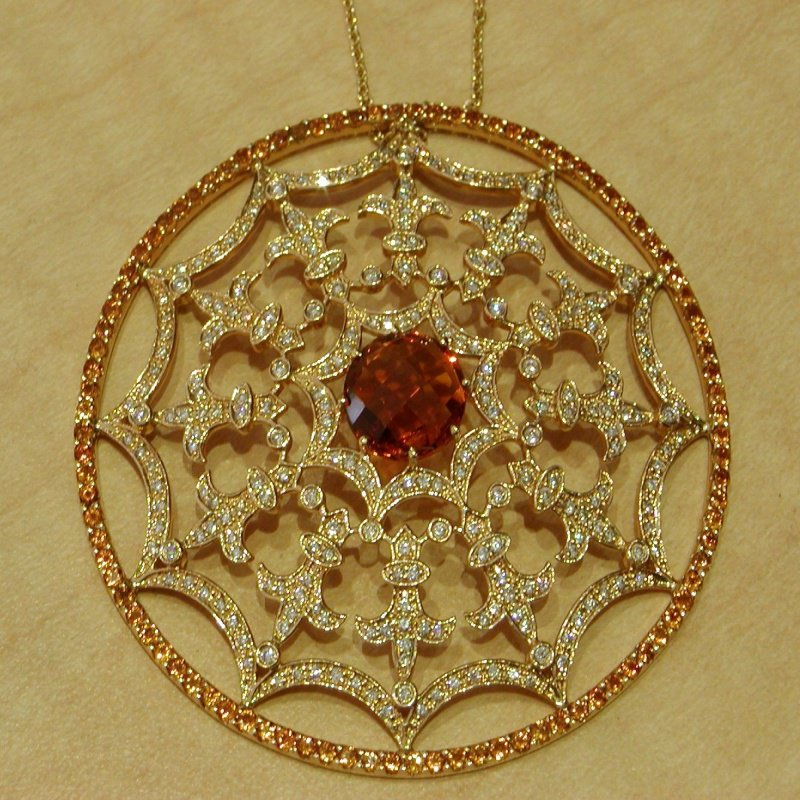 Antony Jewelers Cobweb style necklace with champagne diamonds and brown diamond