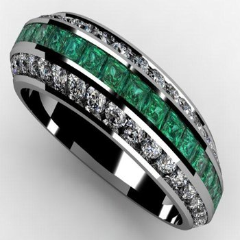 Emerald diamond band