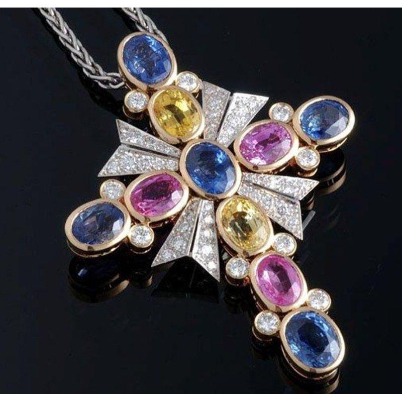 Antony Jewelers Cross pendant with multi color sapphires