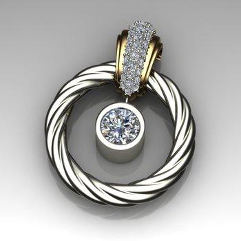 Unique two tone diamond pendant