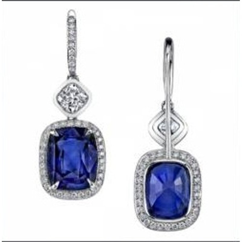 Antony Jewelers Blue sapphire diamond earrings