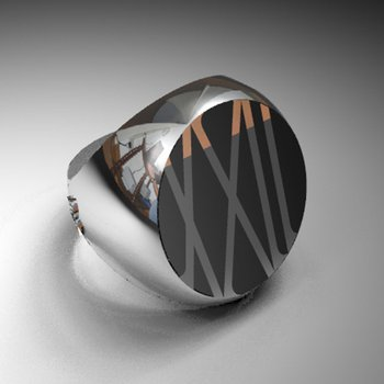 Men's brushed and high-polished gold ring