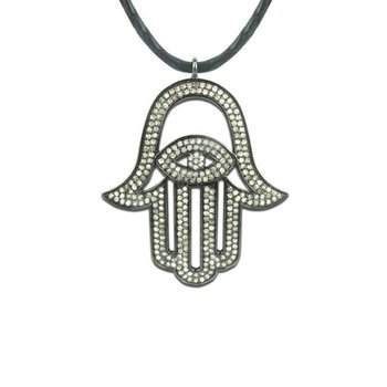 "Blackened gold diamond ""Hamsa"" pendant"