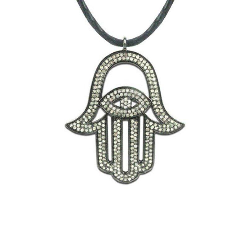 "Antony Jewelers Blackened gold diamond ""Hamsa"" pendant"