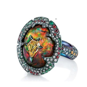 """Fire Opal"" multicolor fashion ring"