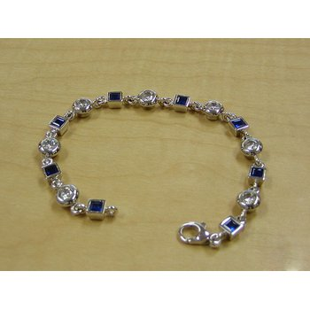 Geometrical Round Diamonds and Square Sapphires Mix Bracelet