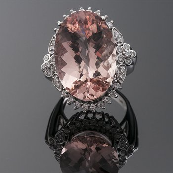Imperial style ring with pink crystal