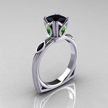 Unique fashion ring with black diamond