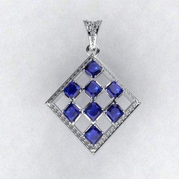 Rhombus shape diamond pendant with sapphires