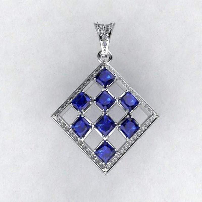 Antony Jewelers Rhombus shape diamond pendant with sapphires
