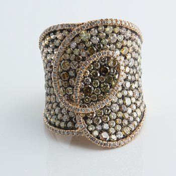 Bandage fashion ring set with variety of diamonds