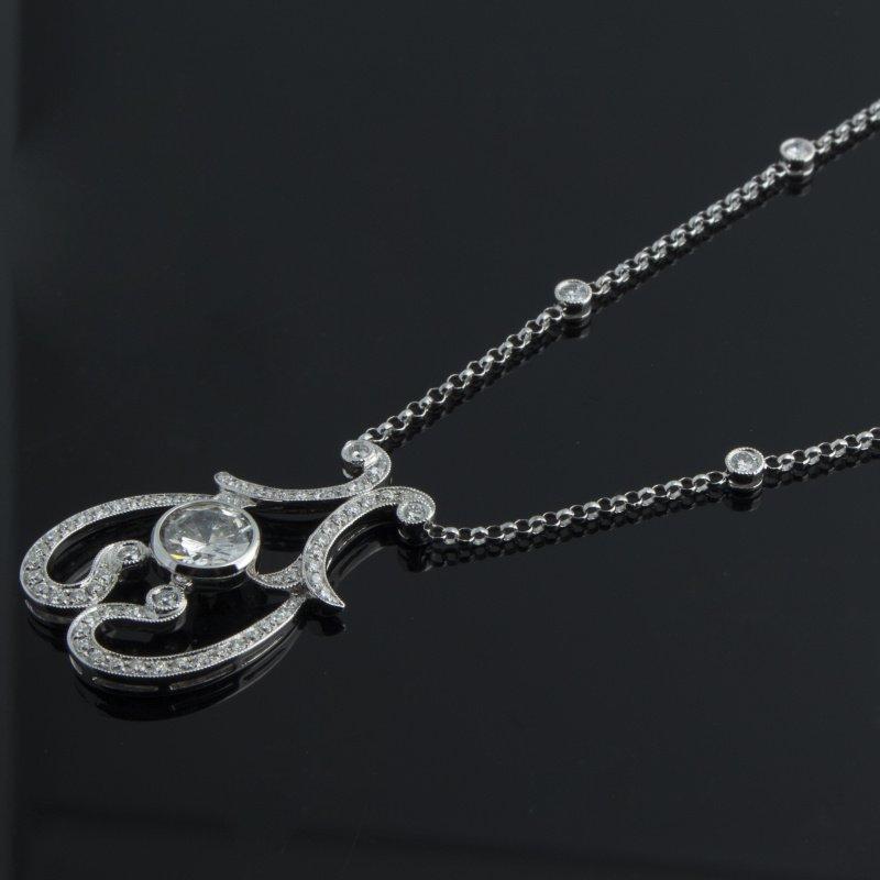 Antony Jewelers Antique style swirl diamond necklace