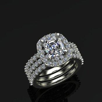 Multiple bands diamond engagement ring