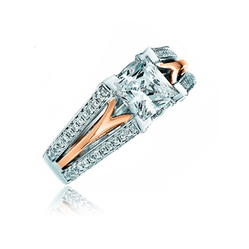 Two-tone Princess Cutt Engagement ring
