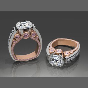 White & Rose gold engagement ring set with diamonds