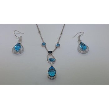 Cocktail set: earrings and necklace with blue topazes