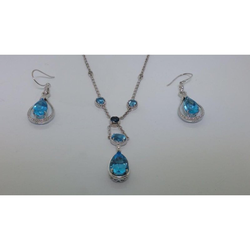 Antony Jewelers Cocktail set: earrings and necklace with blue topazes