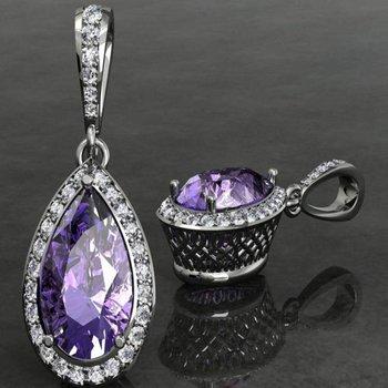 Diamond pendant with amethyst