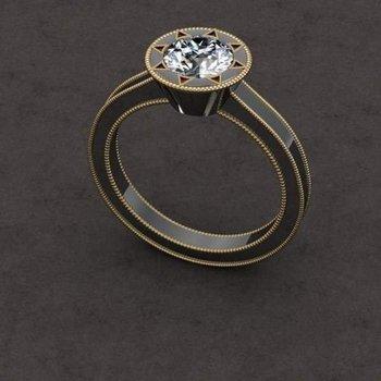 Unique blackened gold engagement ring