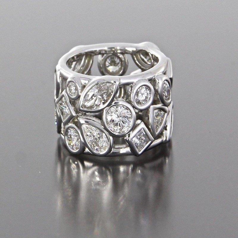Antony Jewelers Unusual wedding band with mixed cut diamonds