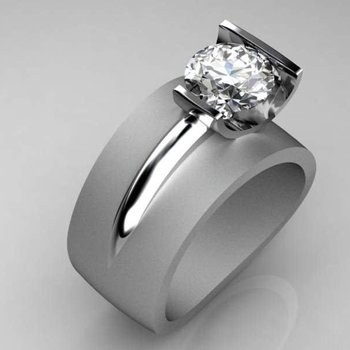 Modern style engagement ring with round diamond