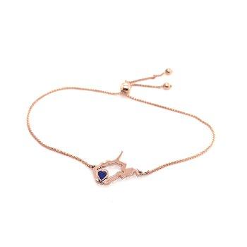 14 Karat Rose Gold Heart in West Virginia Bolo Bracelet with Heart Shape Blue Sapphire