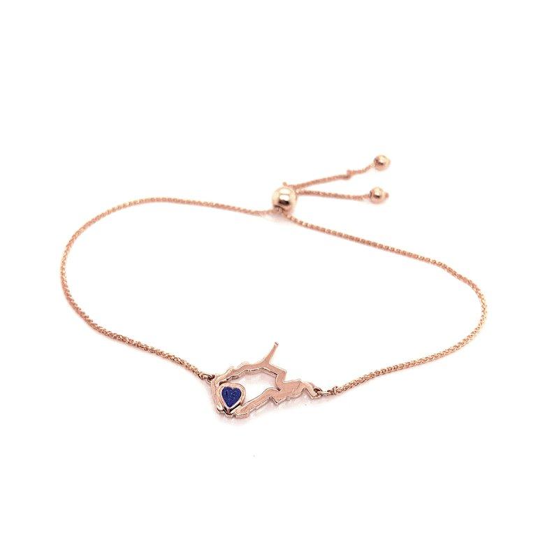 Heart in WV 14 Karat Rose Gold Heart in West Virginia Bolo Bracelet with Heart Shape Blue Sapphire