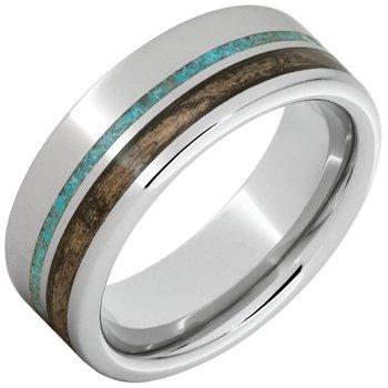 Barrel Aged Serinium Wedding Band with Off-Center Bourbon Barrel Aged™ & Turquoise Inlay